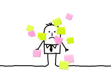 Man & sticky notes Stock Images