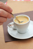 Man stiring an espresso Stock Photography