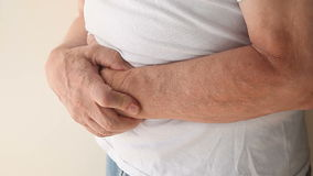 Man with stomach pain Stock Photo