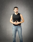 Man stomache. Emotion and expression for person Royalty Free Stock Photos
