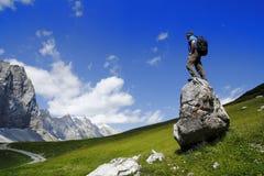 Man on a stone Stock Photo
