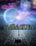 Man before stone structure Stock Image