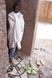 A man stood in a church doorway, Lalibela Royalty Free Stock Images