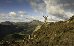 Man stood on mountain Royalty Free Stock Photos