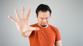 Man with stop hand sign. Royalty Free Stock Photos
