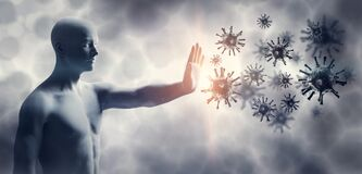 Free Man Stopping Coronavirus. Immune System Defend From Corona Virus COVID-19 Royalty Free Stock Images - 186899629