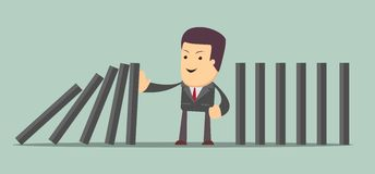 Man stopping the domino effect with falling dominoes. Vector illustration of man stopping the domino effect with falling dominoes Stock Photo