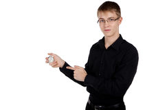 Man with a stopwatch in hand Royalty Free Stock Photos