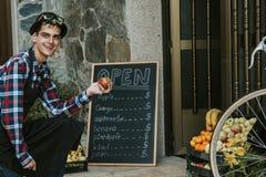 Man store fruit Royalty Free Stock Image