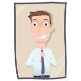 Man straightening necktie Royalty Free Stock Image