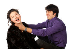 Man strangling a woman Stock Images