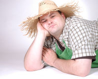 Man with straw hat Royalty Free Stock Photography
