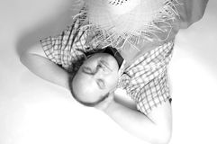 Man with straw hat Stock Image