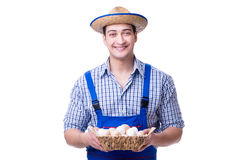 The man with a straw hat and eggs Stock Image