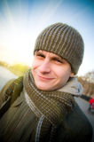 Man on a street in a city. Shallow DOF Stock Images