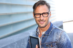 Man in street with a funny look Stock Photography