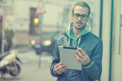 Man On Street Use Ipad Tablet Computer Royalty Free Stock Photo