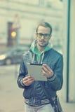 Man On Street Use Ipad Tablet Computer Royalty Free Stock Photos