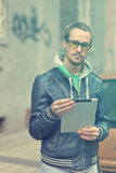Man On Street Use Ipad Tablet Computer Stock Image