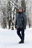 Man street winter tree snow Stock Image