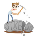 Man stress rock problem solving Royalty Free Stock Image