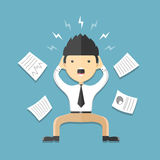 Man stress on work flat icon. Illustration Royalty Free Stock Images