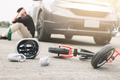 Man are stressed while being drunk with driving crash a child bike accident occurs royalty free stock photography