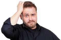 Man is stressed and is looking for an idea Royalty Free Stock Photography