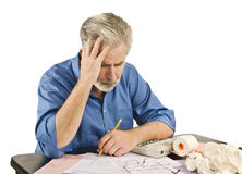 Man Stressed Over Taxes/ Tax Troubles Stock Images