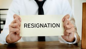 Man stressing with resignation letter for quit a job royalty free stock photo