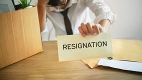 Man stressing with resignation letter for quit a job royalty free stock images