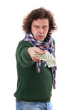 Man stretches out his hand with dollar bills Stock Image