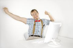 Man stretching arms out. Royalty Free Stock Images