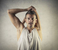 Man stretching royalty free stock images