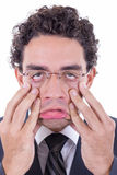 Man stretching face stock images