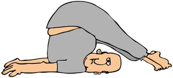 Man stretching. This illustration depicts a man wearing sweats stretching with feet and legs over his head Royalty Free Stock Photo