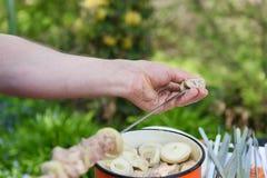 Man stringing meat on a skewer. Shashlik - cooking barbecue. Stringing meat on ramrod Royalty Free Stock Photo