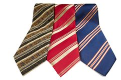 Man stripped ties isolated. Set of man colorful stripped neckties isolated royalty free stock photography