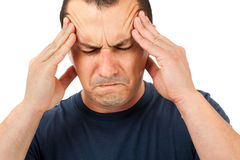 Man with strong headache Royalty Free Stock Images