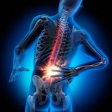 Man with strong pain in spine - 3D illustration stock illustration