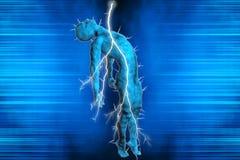 Man struck by lightning. 3D illustration of a man struck by lightning Royalty Free Illustration