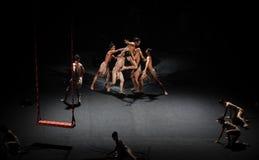Man struggles-Modern Ballet:Trollius chinensis Stock Image