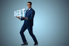 The man struggling with high debt Stock Photos