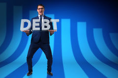 The man struggling with high debt. Man struggling with high debt Royalty Free Stock Photography
