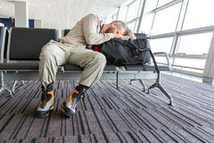 Man stuck at airport royalty free stock photo