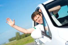 Man stuck his hand out of the window Stock Photos
