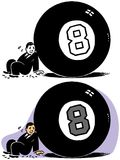 A Man Behind the Eight Ball. A man is stuck literally behind a giant eight ball vector illustration
