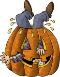 Man Stuck in a Pumpkin stock illustration