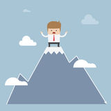 Man stuck on the top of mountain, stock market concept Royalty Free Stock Photo
