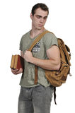 Man student with book bag. Man student with a back pack or book bag Royalty Free Stock Photos